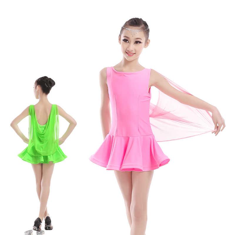 Professionelle Mädchen Kinder Kinder Ballroom Dance Kostüme 3/4 Langarm Rollkragen Spandex Latin Dance Kleid