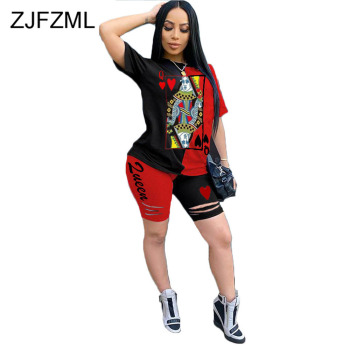 Poker Contrast Color Print 2 Piece Set for Women O Neck Short Sleeve T Shirt Top Bandage Hollow Out Biker Shorts Fashion Outfits contrast tied neck allover fringe top