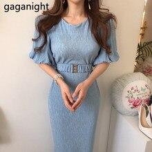 Gaganight elegante mulheres bodycon vestido de festa sólida magro verão senhora sash vestidos moda coreano maxi vestidos manga curta chique
