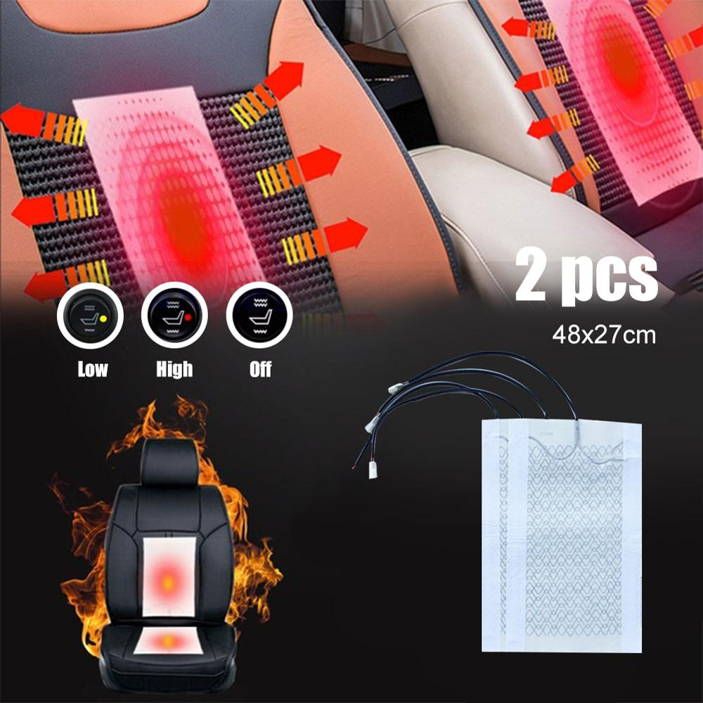 4 Pcs Car Universal Carbon Fiber Heated Seat Heater 12V Pads 2 Dial 5 Level Switch Winter Warmer Seat Covers Heating Mat