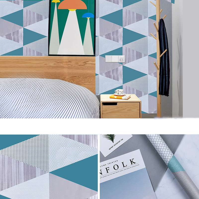 Geometric Striped PVC Self-Adhesive Wallpaper Bedroom Waterproof Wall Sticker Kitchen Counter-Top Furniture Decorate Wallpapers