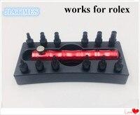 Rlx 스크류 온 푸셔 및 케이스 튜브 용 13 pcs 스테인레스 스틸 체인 시계 도구의 구색