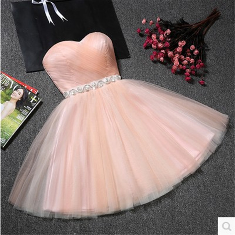 Beauty Emily Charming Strapless Sleeve Evening Dress with Belt 2021 Fashion Zipper Back Tulle A Line Dress 4 Colors Available