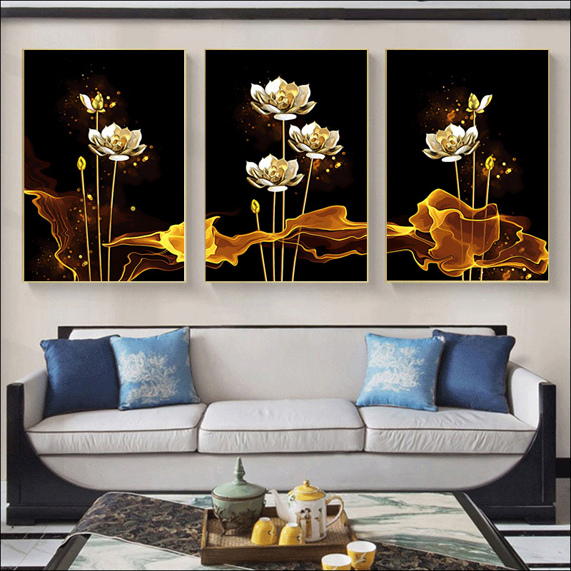 painting by numbers adwall frame DIY frame Hand painting  Wall decoration paintin still life golden flowers Hand painting Lotus-1