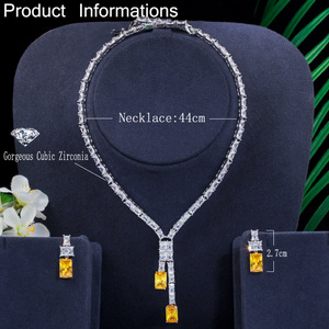 Image 2 - CWWZircons Dazzling African Cubic Zircon Womens Wedding Necklace Jewellery Set Bridal Party Costume Jewelry Accessories T374