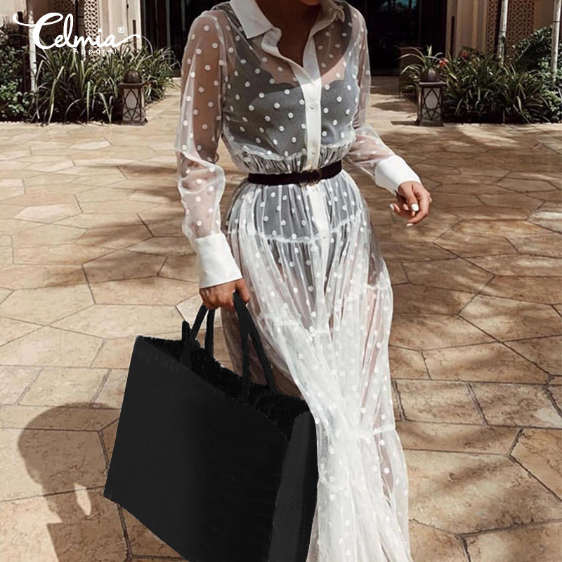 2019 Summer Women Sexy Hollow Maxi Long Dress Celmia Long Sleeve Casual Button Polka Dot See Through Vestidos Robe Plus Size 5XL