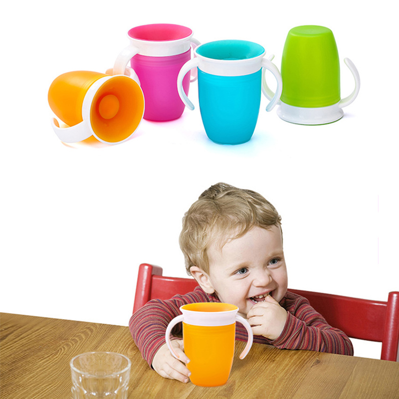 360 Degrees Can Be Rotated Baby Learning Drinking Cup With Double Handle Flip Lid Leakproof Infants Water Cups Bottle BPA Free