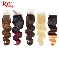 Lace Closure RXY Brazilian Hair Sale Body Wave Remy Human Hair Closure #1B/#2/#4/#27/99J Closures Pre Plucked Ombre Hair Closure