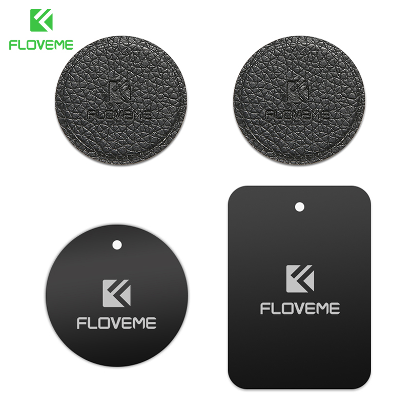 FLOVEME Car Phone Holder Metal Plate Magnetic Disk Car Mount Holder Magnet Metal Leather Iron Sheets For Cellphone Stand In Car