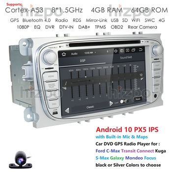 Octa Core 4G Android 10 Car DVD Player 2 Din radio GPS Navi for Ford Focus Mondeo Kuga C-MAX S-MAX Galaxy Audio Stereo Head Unit