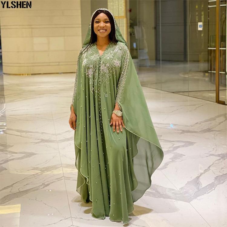 Length 150cm Africa Dress African Dresses for Women Dashiki Diamond Beaded Traditional Boubou African Clothes Abaya Muslim Dress 05