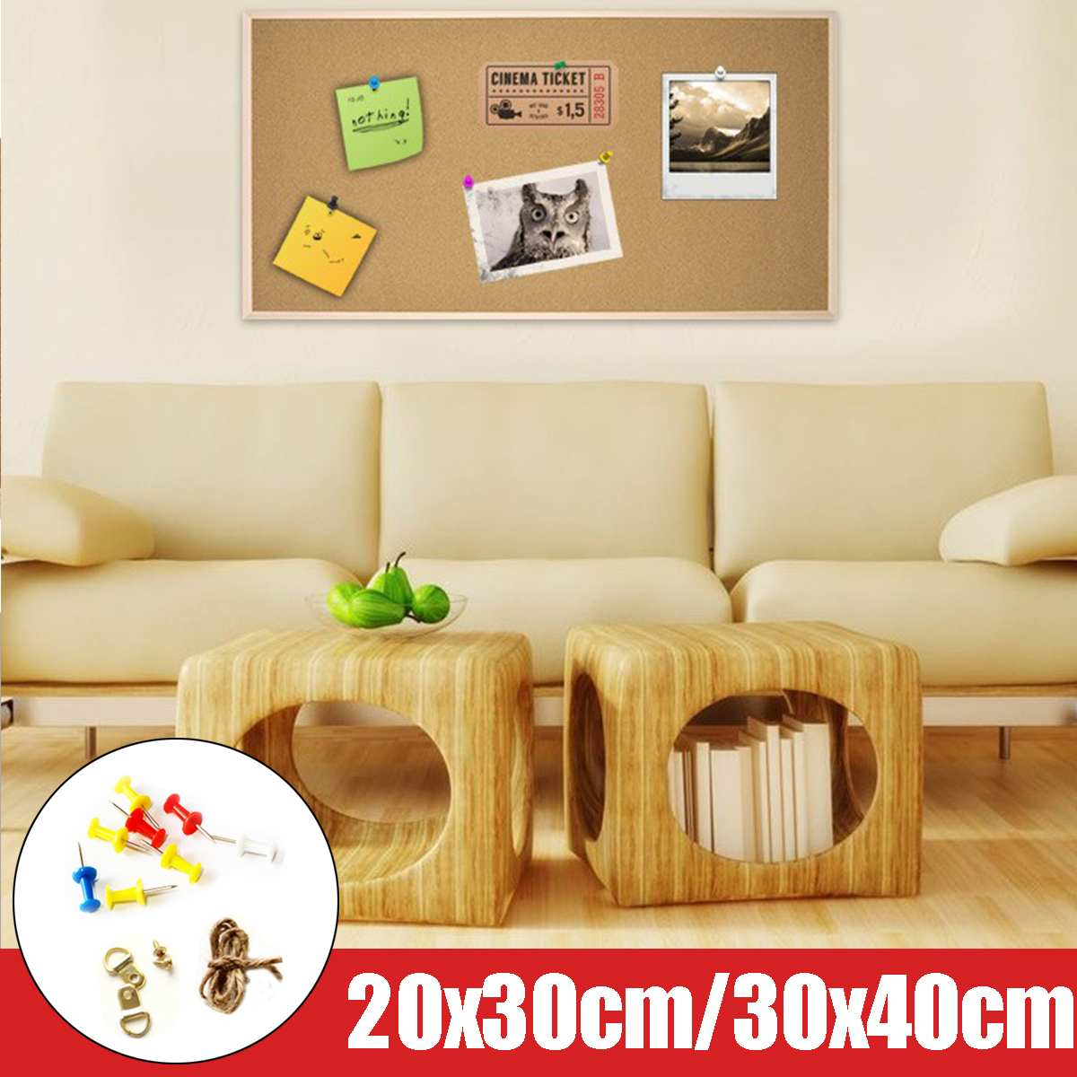 Wood Wall Hanging Message Board Note Board Cork Frame Pin Message Notice Board For Home Office Shop Memo School Photo Background