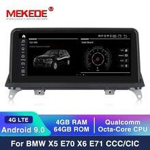 MEKEDE autoradio, lecteur multimédia, unité de système CCC/CIC, MSM8953, Android 9.0, à 8 cœurs, 4 go + 64 go, 4G LTE, pour voiture BMW X5 E70/X6 E71 (2019 2007)