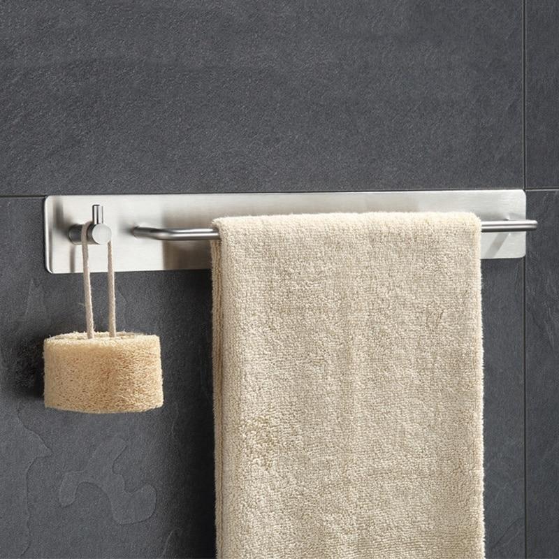 Hot Brushed Nickel Towel Bar Holder With Hook Hanger No Drill