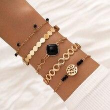 5 pz/set donne Vintage bracciali Set catena di colore oro geometria in rilievo gemma bracciale da donna moda gioielli da sposa