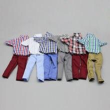 1/6 ken roupas de moda xadrez camisa terno boneca vestir ken pano uso diário casual terno para 30cm namorado ken boneca acessórios