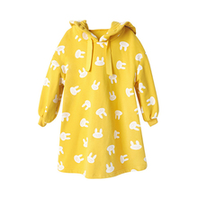 Little Girls Dress Bunny Printing Kids Clothes Long Sleeve Hoodies Dresses for  Childrens Clothing Yellow