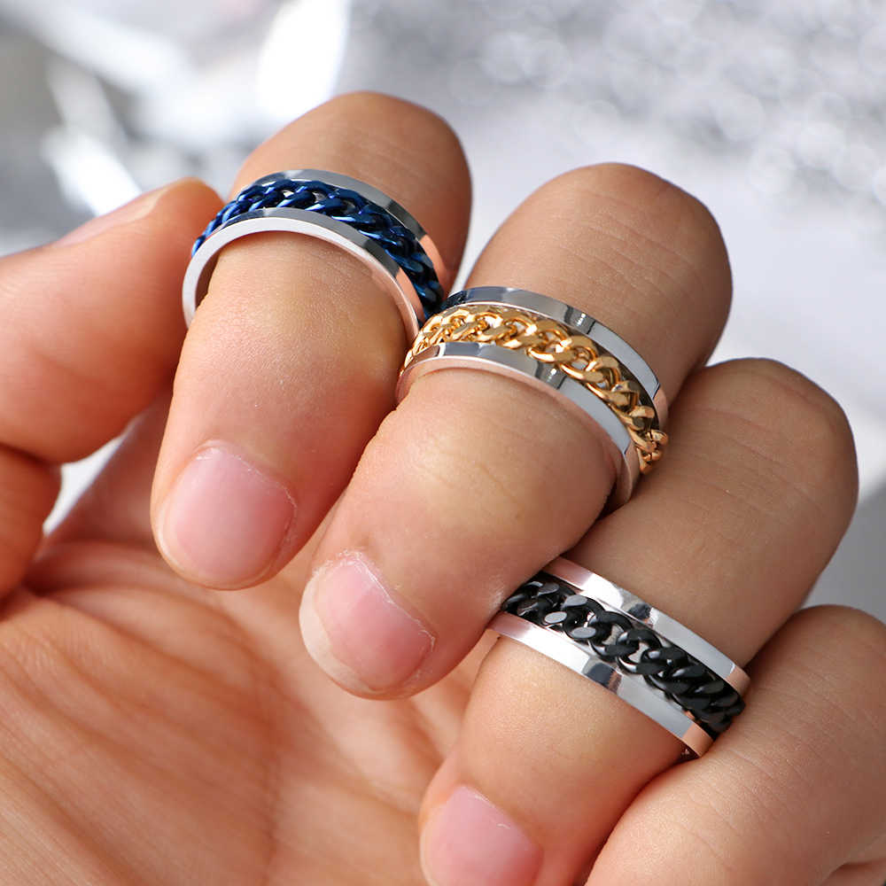 New Punk Rock Men Spinner Ring Stainless Steel Gold Black Spinner Chain Rotable Rings For Women Party Accessories Size 6-12