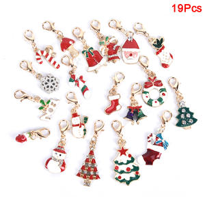 Keychains Clasp Charms Snowman Christmas-Decoration Lobster Enamel Jewelry Alloy 19pcs
