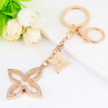 New Creative Shamrock Keychain Golden Fashion Metal Car Bag Pendant Jewelry Beautiful Womens Gifts Wholesale