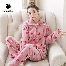 MS Ladies autumn and winter warm flannel pajamas set home service coral fleece long-sleeved cartoon girl thickening pajamas two стоимость