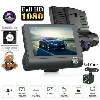 цена на 3 In 1 Car DVR 4 Inch 170 Degree 1080P HD Dash Cam Dual Lens Dashcam With Rear View Camera Car Front Back Inside Video Recorder