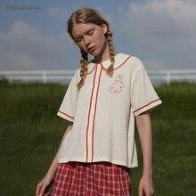 Wysokiej jakości Vintage bawełna biała koszula Top urocza koronka haft Bunny kobiety letnia bluzka kołnierz piotruś Pan luźne topy na co dzień