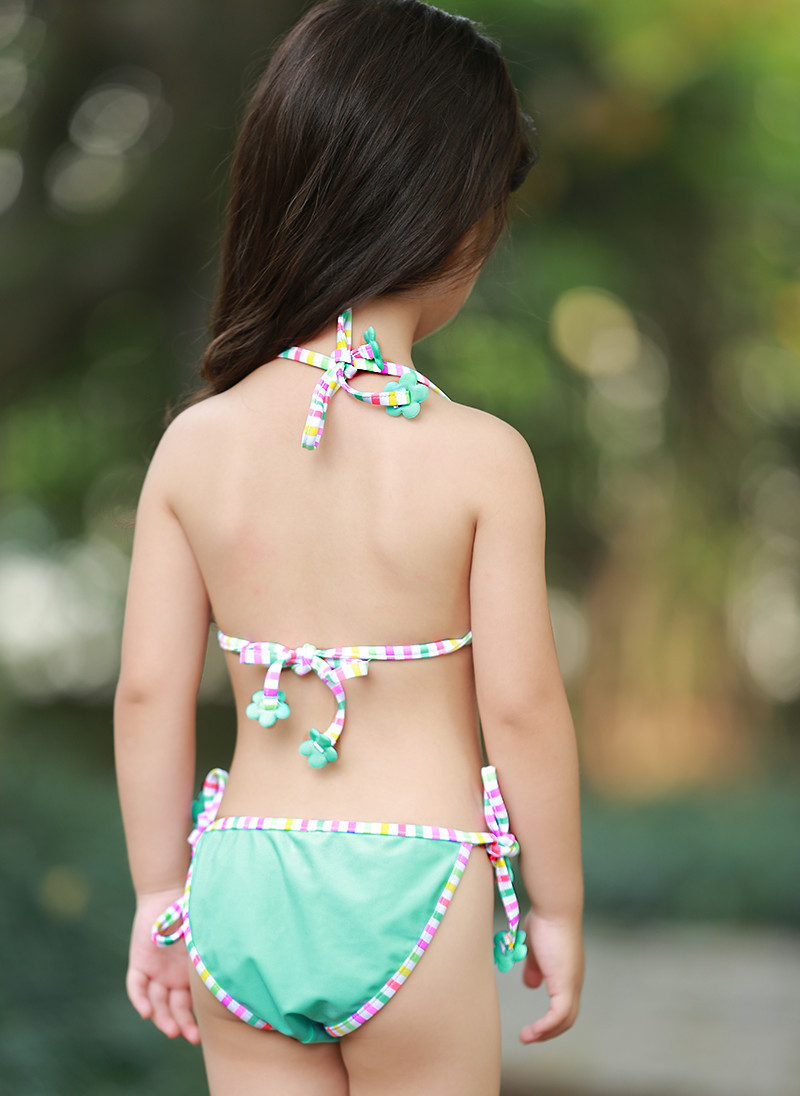 Blue Flower Lace-up Bikini KID'S Swimwear Baby Small Children GIRL'S Cute Swimwear Spa Resort