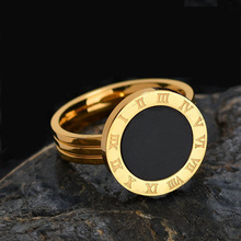 Classic Roman Numbers Shell Men Rings Luxury Stainless Steel Engagement Wedding Finger Rings For Men Women Jewelry Gift