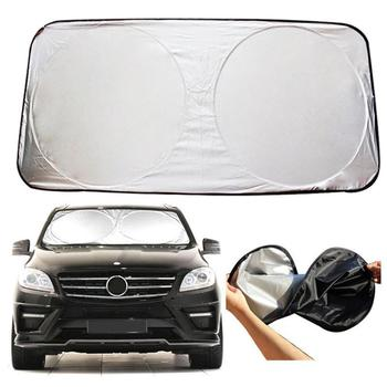 Universal Big Auto Car Vehicles Front Window Windshield Folding Visor Reflective UV Sunshade Heat Block Cover image