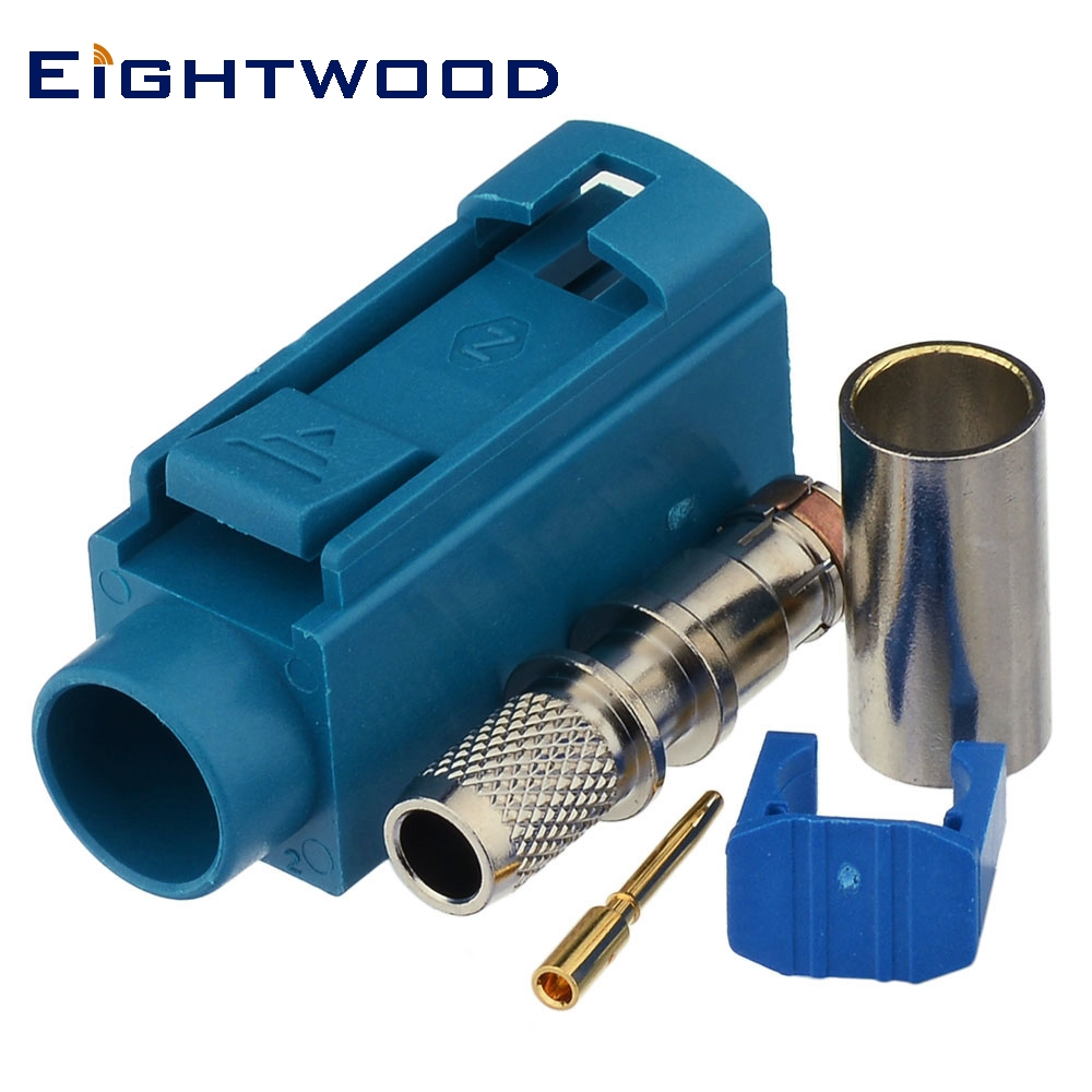 Eightwood GSM <font><b>GPS</b></font> DAB+ Radio Antenna Connector SMB <font><b>Fakra</b></font> Code Z Female Socket Waterblue/5021 Crimp for RG58 LMR195 Cable image