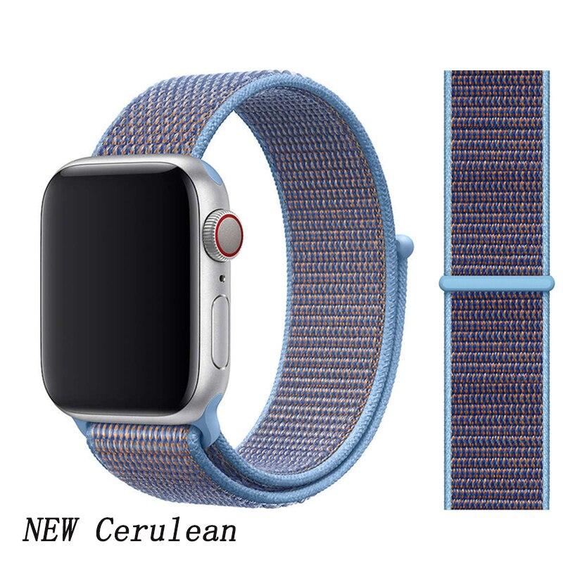 Спортивная петля ремешок apple watch band 42 мм 38 мм apple watch 4 3 band iwatch band 44 мм 40 мм correa pulseira 42 44 нейлоновый ремешок для часов - Цвет ремешка: New Cerulean 2