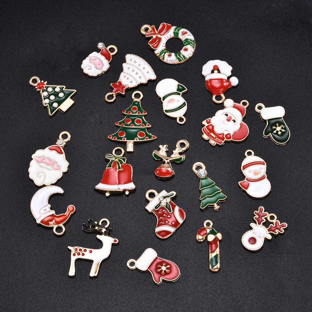 20Pcs/Set Enamel Alloy Mixed Christmas Charms Pendant Jewelry Hand Made DIY Craft Making Sieraden Maken Decoration Accessories