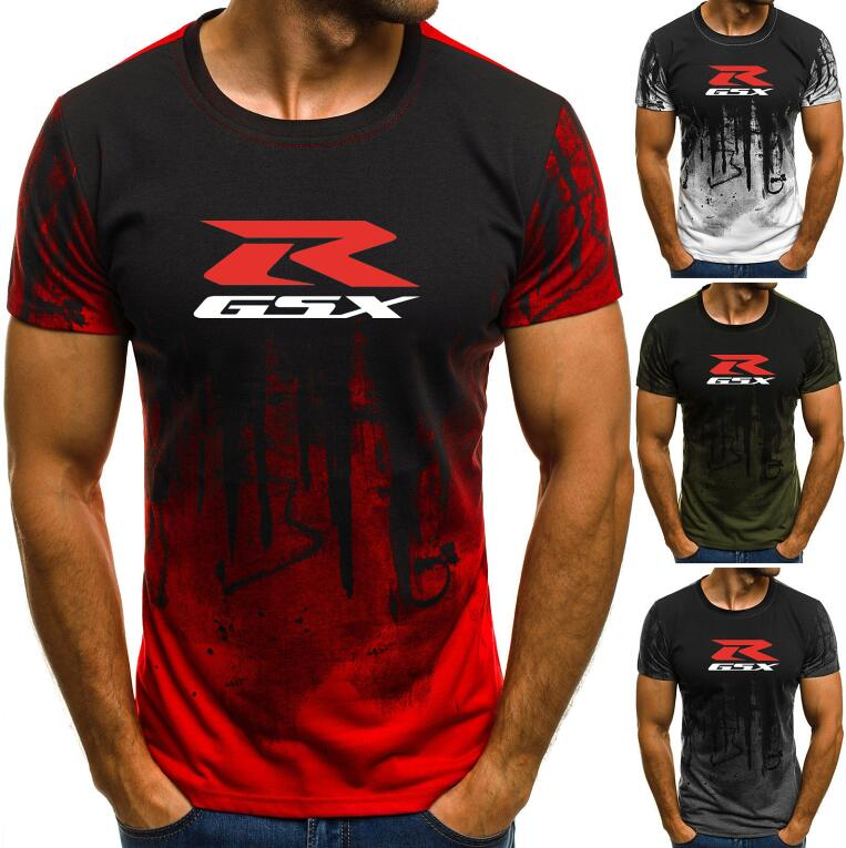 2019 Summer Men's Short Sleeve T shirts Male 1 <font><b>Suzuki</b></font> Gsxr Gsx R Print T-shirts Tops splash-ink Printed Male Casual tshirt image