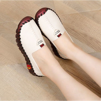 2021 Leather Slip on Shoes Pregnant Woman Maternity Shoes Women's Loafers Wide Fit Thick Sole Flats Korean Style Shoes for Women 1