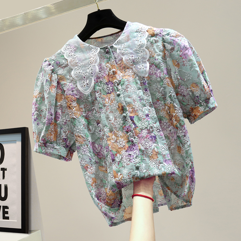 2020 Summer Shirt Women Loose Chiffon Blouse Fashion Embroidered Floral Print Short Sleeve Shirts Girls Ladies Blouses Tops