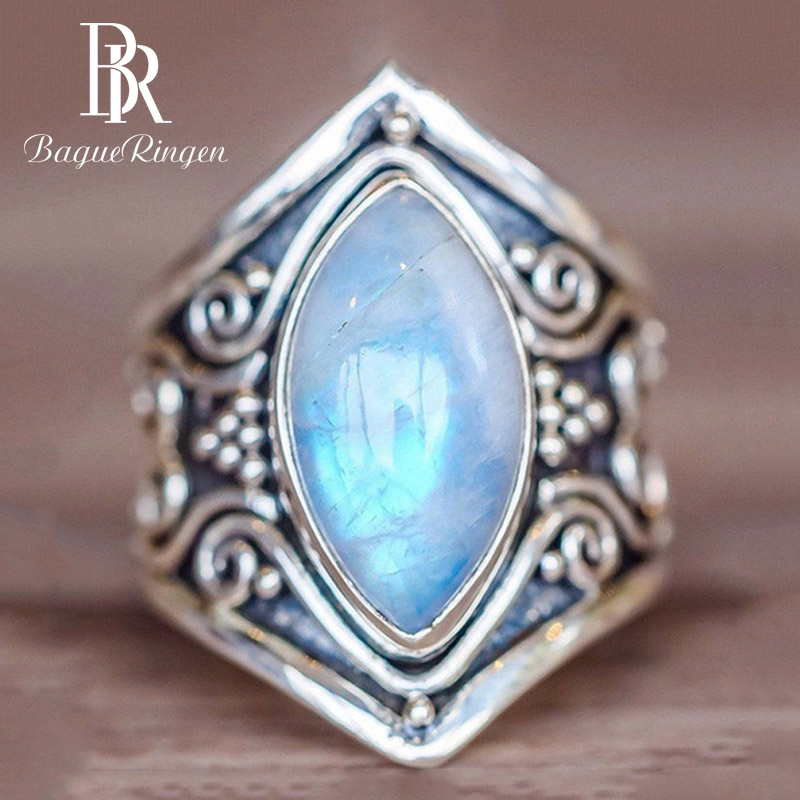 Bague Ringen Vintage Created Moonstone Rings For Men Women Silver 925 Jewelry Ring Wholesale Patry Anniversary Fine Jewelry Gift