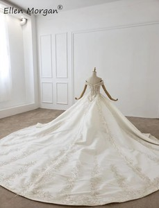 Image 4 - Luxe Kristallen Lace Baljurken Trouwjurken Voor Vrouwen Saudi Arabian Elegante Prinses Lange Mouwen Kralen Bruidsjurken 2020