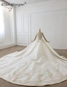 Image 4 - Luxus Kristalle Spitze Ballkleider Hochzeit Kleider für Frauen Saudi Arabischen Elegante Prinzessin Langen Ärmeln Perlen Brautkleider 2020