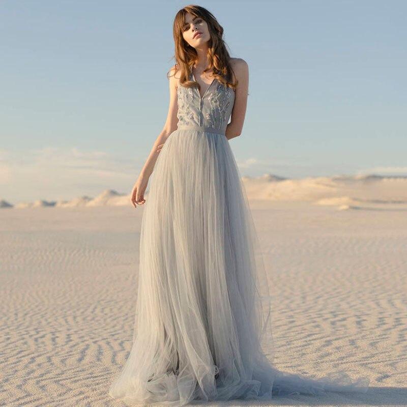 Eightree Beach Wedding Dress Robe De Soiree V Neck Sleeveless Bride Dress Boho Wedding Gowns Lace Tulle Appliques Bridal Dress
