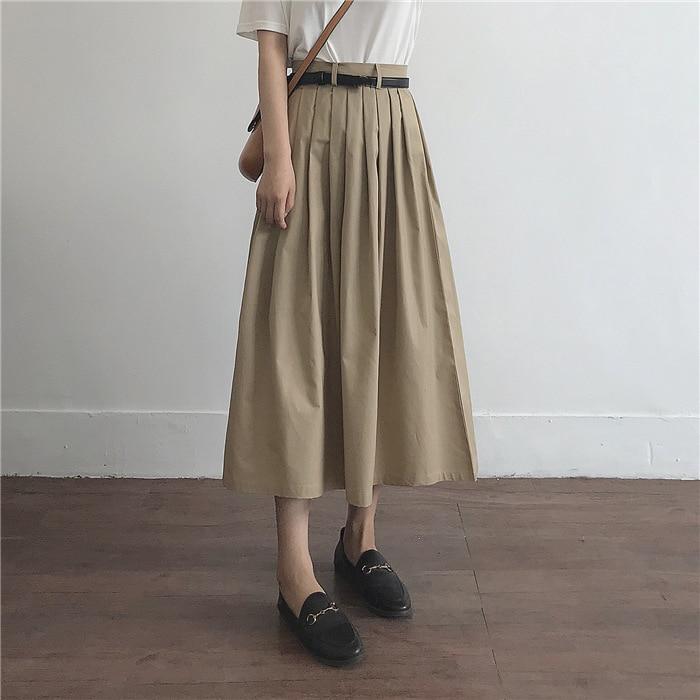 2020 New High Waist A-Linen Women Summer Cotton Skirt Saia Side Zip Women Pleated Khaki Skirt Faldas Jupe Femme