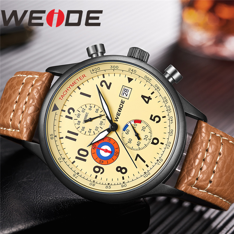 WEIDE Men Watch Relogio Masculino Analog Military Watch Army Date Leather Strap Dial Clock Quartz Watch Wristwatch Men's Watches