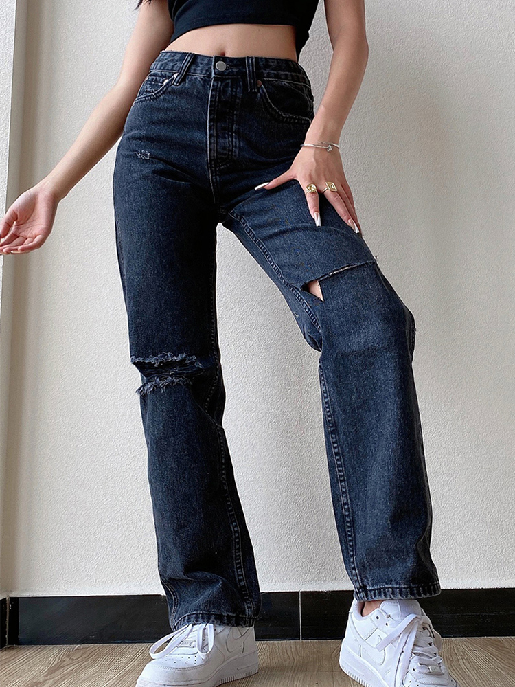 Boyfriend Jean Pants Trousers Stright High-Waist Female Large-Size Mom