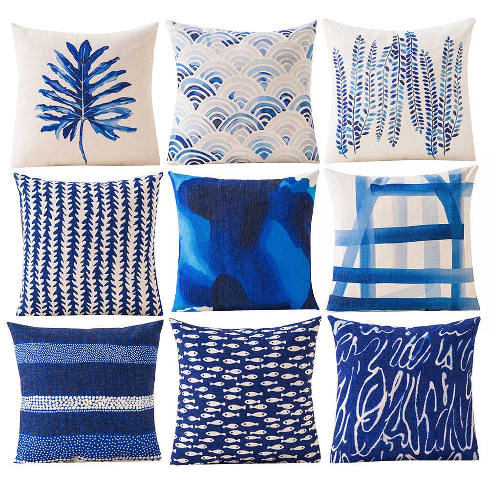 Capa de almofada design geométrica azul, capa protetora para almofadas, decoração de carro, café, casa, quarto, acessórios