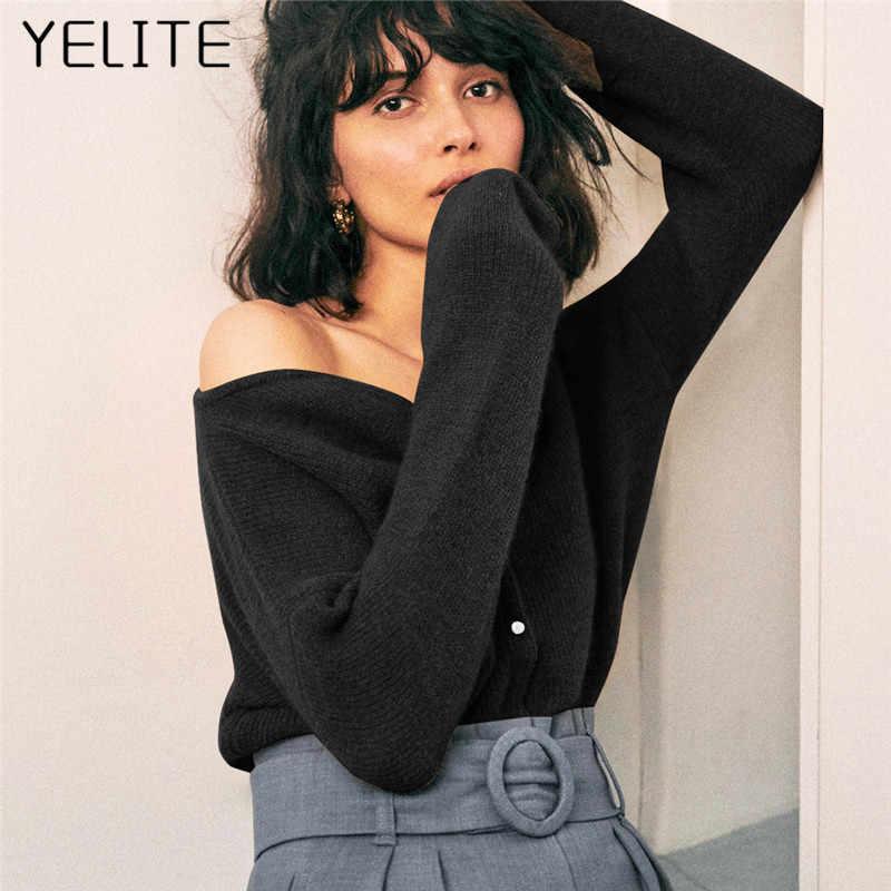 YELITE ถัก Outerwear แขนยาวเสื้อกันหนาวผู้หญิงฤดูหนาวเสื้อลำลองหญิงเสื้อหลวมๆเสื้อสเวตเตอร์ถัก TOP 2020
