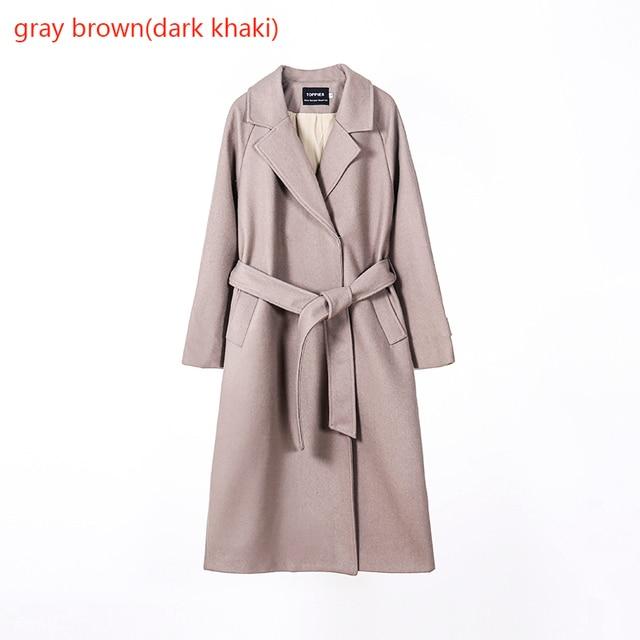 Toppies 2020 laine manteau femmes manteau long veste 50% laine coréenne dames outwear bouton couvert 4