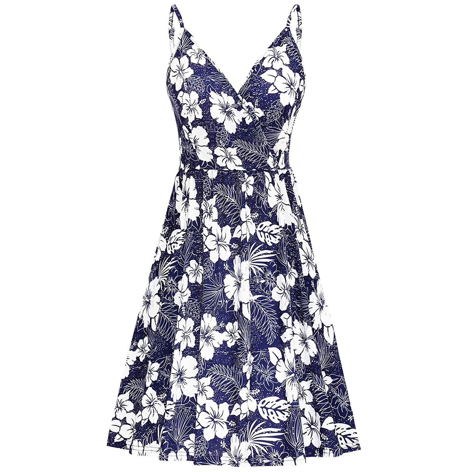 Women's V Neck Floral Spaghetti Strap Summer Casual Swing Dress with Pocket 3