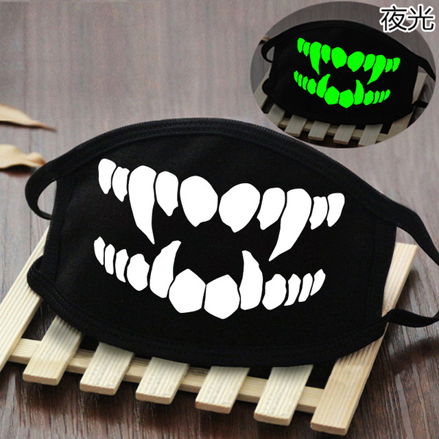 Cute Anime Cosplay Masks Cotton Washable Noctilucent Skull Bear Mask Breathable Dust-proof Street Sports Mask Props New 5