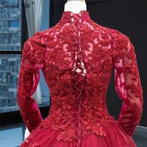 Image 4 - Muzułmańskie wino czerwone luksusowe koronki suknia ślubna z długim rękawem frezowanie warstwowe suknie ślubne 2020 prawdziwe zdjęcie HA2340 Custom Made