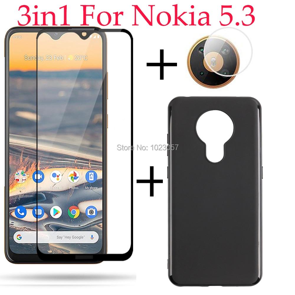 3 в 1 чехол из закаленного стекла с полным покрытием, защита для объектива камеры, Защитное стекло для Nokia 5,3 TA-1234 TA-1223 TA-1227 TA-1229
